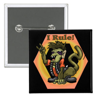 Hip Monkeys Rule Funny T-shirts Gifts 2 Inch Square Button