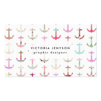 Hip Nautical Anchors Aztec Floral Stripes Pattern Double-Sided Standard Business Cards (Pack Of 100)