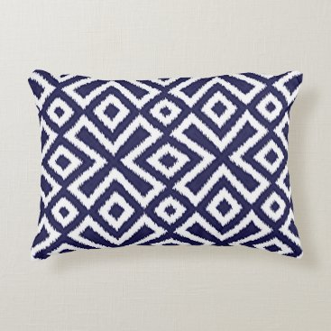 CozyLivin Hip Nautical Dark Blue White Ikat Squares Pattern Decorative Pillow
