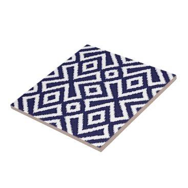 LolasClassyCeramics Hip Nautical Dark Blue White Ikat Squares Pattern Tile