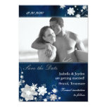 Hip Navy Blue Winter Photo Wedding Save the Date Card