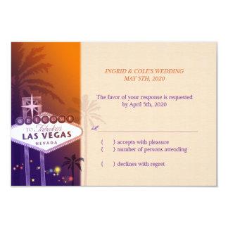 Hip Orange + Purple Las Vegas Wedding RSVP (3.5x5) Personalized Invites