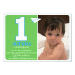 "Hip Paper Airplane One Year Photo Invite 2 5"" X 7"" Invitation Card"
