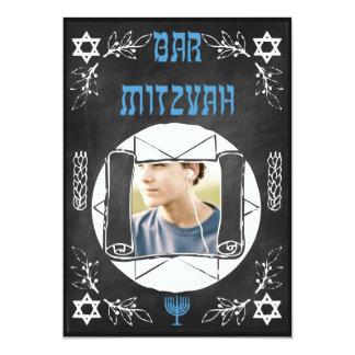 Hip Personalized Bar Mitzvah Chalkboard Invitation