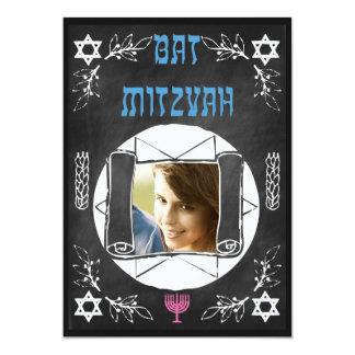 Hip Personalized Bat Mitzvah Chalkboard Invitation
