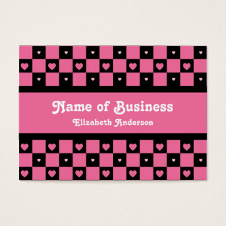 Hip Pink and Black Hearts Stylish Checker Pattern Business Card