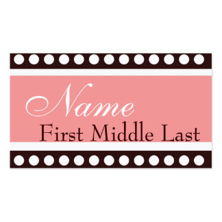 Hip PInk and Brown New Baby Calling Card Business Card Template