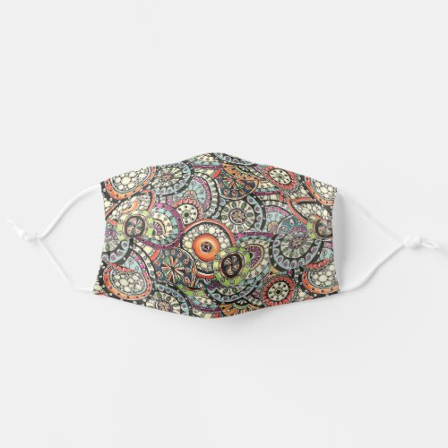 Hip Pink Blue Orange Red Lime Green Floral Circles Cloth Face Mask