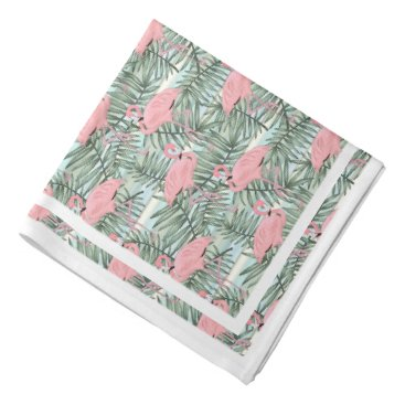 Beach Themed Hip Pink Flamingoes Cute Palm Leafs Pattern Bandana