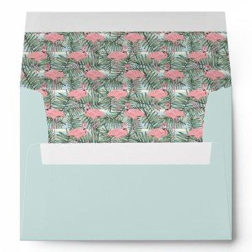 Hip Pink Flamingoes Cute Palm Leafs Pattern Envelope