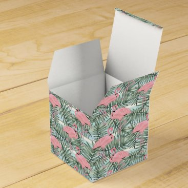 Hip Pink Flamingoes Cute Palm Leafs Pattern Favor Box