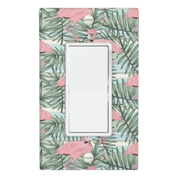 Hip Pink Flamingoes Cute Palm Leafs Pattern Light Switch Cover