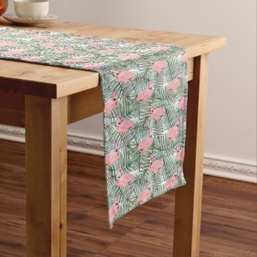 Beach Themed Hip Pink Flamingoes Cute Palm Leafs Pattern Long Table Runner