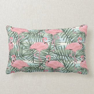 Hip Pink Flamingoes Cute Palm Leafs Pattern Lumbar Pillow