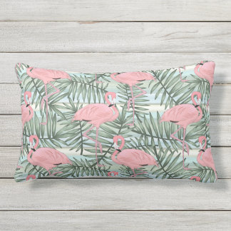 Hip Pink Flamingoes Cute Palm Leafs Pattern Outdoor Pillow