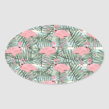 Beach Themed Hip Pink Flamingoes Cute Palm Leafs Pattern Oval Sticker