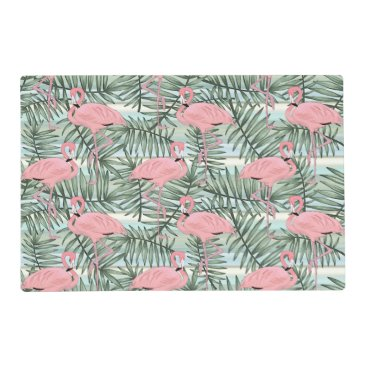 Beach Themed Hip Pink Flamingoes Cute Palm Leafs Pattern Placemat