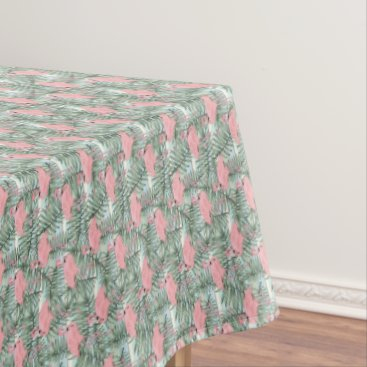 Beach Themed Hip Pink Flamingoes Cute Palm Leafs Pattern Tablecloth
