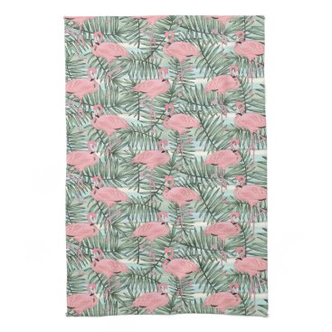 Beach Themed Hip Pink Flamingoes Cute Palm Leafs Pattern Towel
