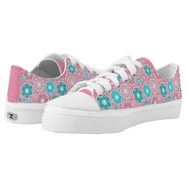 Hip pink floral and aqua Low-Top sneakers
