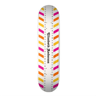 Hip Pink Orange and Yellow Chevron Stripes Skateboard