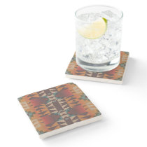 Hip Red Orange Dark Brown Teal Blue Art Mosaic Stone Coaster