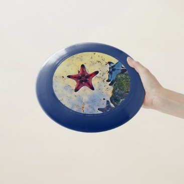 Beach Themed Hip Red Yellow Blue Starfish On Sand Beach Toy Wham-O Frisbee