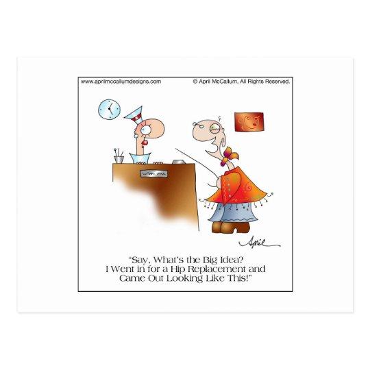 HIP REPLACEMENT Cartoon Postcard by April McCallum