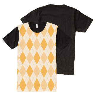 Hip retro Retro yellow argyle  American Apparel All-Over-Print T-Shirt
