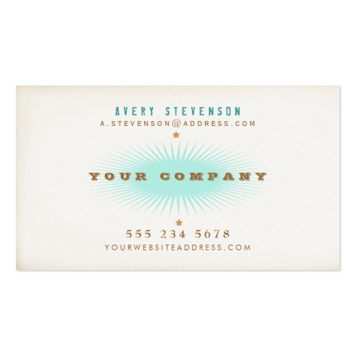 Hip Retro Style Typography Turquoise Burst Business Card