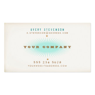 Hip Retro Style Typography Turquoise Burst Double-Sided Standard Business Cards (Pack Of 100)