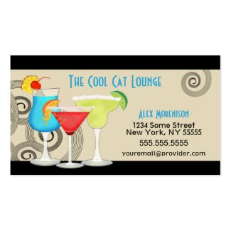 Hip Retro Swirl Cocktail Business Card profilecard
