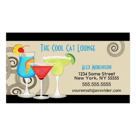 Cool Hip Retro Swirls Cocktail Lounge Cocktail Drinks Calling Cards