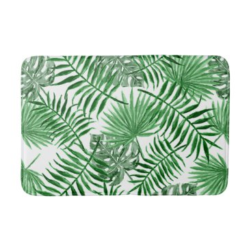 Beach Themed Hip Retro Tropical Green Palm Leafs Pattern Bathroom Mat