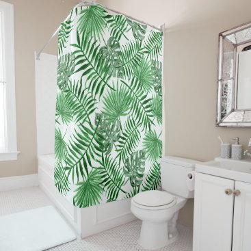 Beach Themed Hip Retro Tropical Green Palm Leafs Pattern Shower Curtain