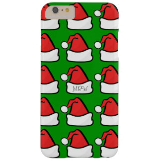 Hip Santa Claus Hat Optional Initials Green Barely There iPhone 6 Plus Case