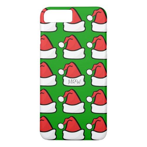 Hip Santa Claus Hat Optional Initials Green iPhone 8 Plus7 Plus Case