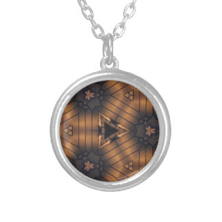 Hip Shades of brown connections Pattern Round Pendant Necklace