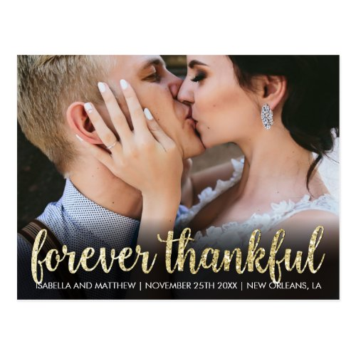 Hip Sparkling Gold Glitter Forever Thankful Pic Postcard