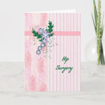Hip Surgery Card with Coral Pink Stripes & Flowers