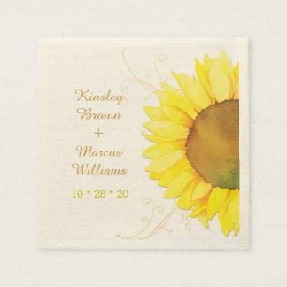 Hip Swirls, Sunflower Wedding Paper Napkins