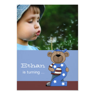Hip Teddy 2-Year Old -  Photo Birthday Party  Invi Card