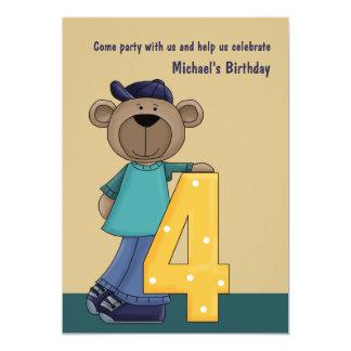 Hip Teddy Bear (custom)- Birthday Party Invitat Card