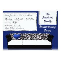 hip trendy mod navy sofa , party Invitation