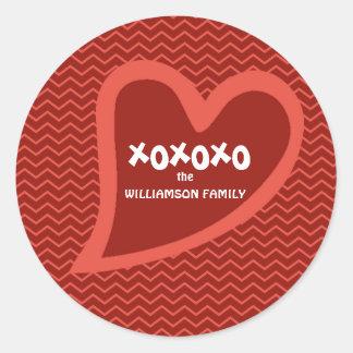 Hip & Trendy Personalized Heart XOXOXO Valentine Classic Round Sticker