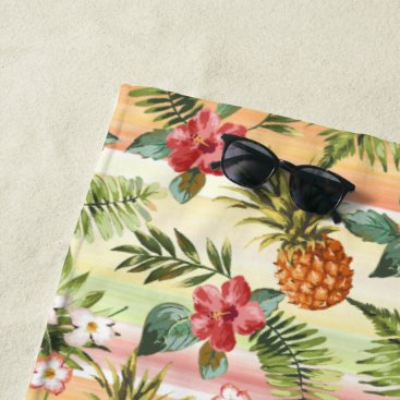 Beach Themed Hip Tropical Pineapple Fruit Floral Pattern Beach Towel