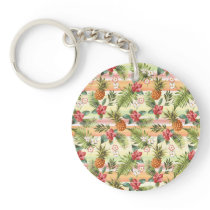 Hip Tropical Pineapple Fruit Floral Stripe Pattern Keychain