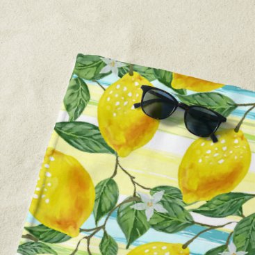 Hip Tropical Summer Lemons Fruit Pattern Beach Towel