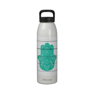 Hip Turquoise Hamsa Hand Henna Pattern Wood Stripe Drinking Bottles