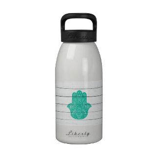 Hip Turquoise Hamsa Hand Henna Pattern Wood Stripe Drinking Bottle